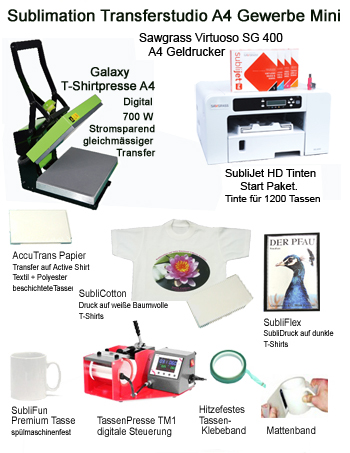 Transferstudio Sublimation Virtuoso SG 400 Gewerbe Mini A4 mit Galaxy T-Shirtpresse 22x30cm