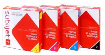 Bild von Ricoh 3110/7100 Set SubliJet R  Black 42ml, Cyan 29ml, Magenta 29ml, Yellow 29ml Patronenset
