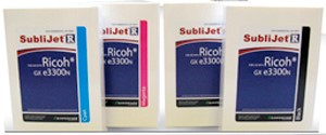 Bild von Ricoh R GXe 3300 /7700 Set 4 Colour Cartridges Cyan, Magenta, Yellow, Black Sublijet+Farbprofil+ 100 Bl. Accutrans, das richtige Sublimationspapier
